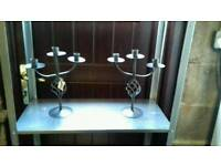 New grey metal tripod candlesticks pair