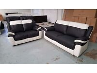 NEW ScS LEO BLACK & WHITE LEATHER 3 + 2 SEATER SOFAS **Can Deliver**