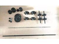 Adjustable Weight Bench + Dumbells & Barbells & Plates