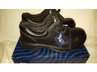 Unisex COMFORT GRIP Safety Steel Toe Cap Catering Shoe Black