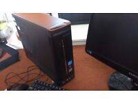 GAMING Lenovo SLIM Desktop Computer with Samsung monitor keyboard mouse and BRAND NEW GRAPHICS CARD