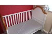 White Solid wood cot bed Like new