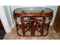 Space Saving two person bamboo kitchen/conservatory table and chairs. Good condition.