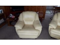 Leather Sofa, Armchair and Pouffe in Cream