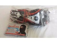 Knox Handroid Motorcycle Gloves, Size M, (Red, White and Black), and FREE cotton balaclava