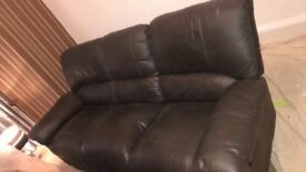 Brown leather 3 sweater recliner sofa