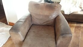 Leather 3 seater, 2 seater sofa and armchair in John Lewis style distressed brown leather.