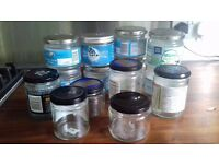 Collection of glass jars with lids