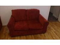 Dark red fabric sofa set