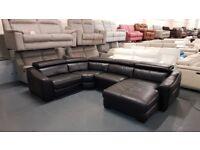 Ex-display Elixir black leather electric recliner corner chaise sofa