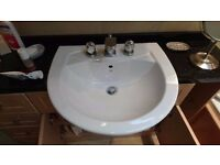 Vernon Tutbury basin sink - semi recessed - 3 tap holes - 550 x 495 - Used in good condition