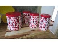 Habitat Tea, Coffee, Sugar & Biscuits Containers Red Design Full Set