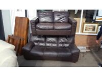 Real Leather sofa set in Dark choc Brown very Comfy