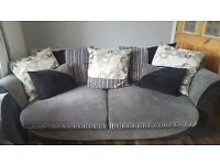 3 seater, 2 seater and large footstool