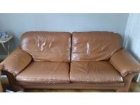 Retro tan leather 3 seater sofa. Excellent condition!