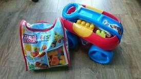 Mega blocks wacky wheels + animal safari +Play N Go Wagon