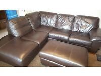 FOR SALE - Leather Corner Sofa with footstool