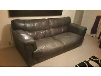 Set of DFS dark charcoal grey leather sofas (4 SEATER AND 2 SEATER!)
