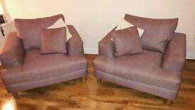 2 x sofa armchairs HEATHER colour mint condition
