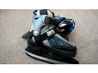 SFR Adjustable Junior/Kids Ice Skates - Black/blue 13-3