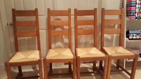 4 Oak Ladderback Dining Chairs