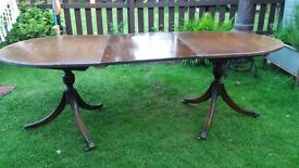 Table for Christmas Pedestal Regancy Style Mahogany and gilt mounted twin pedestal dining table
