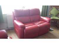 Excellent condition red leater sofa's. Buyer collects.