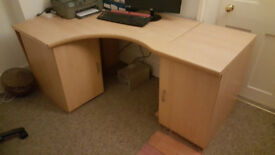 Large, substantial corner desk with cupboards and charcoal grey adjustable chair