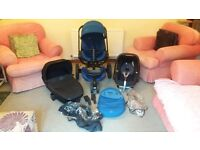 Quinny Moodd Pushchair Travel System, inc Quinny Carrycot, Maxi Cosi Pebble Car Seat plus more