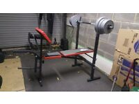 weight lifting bench and weghts