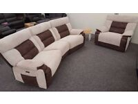 ScS Nelson Fabric 4 Seater Electric Recliner & Electric Recliner Armchair **CAN DELIVER**