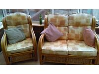 Cane wicker Conservatory Suite - Chairs, Sofa, side table