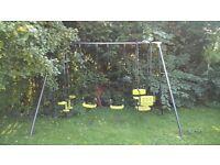 Large Garden swing set, 2 swings, one glider swing and one gondola double chair swing.