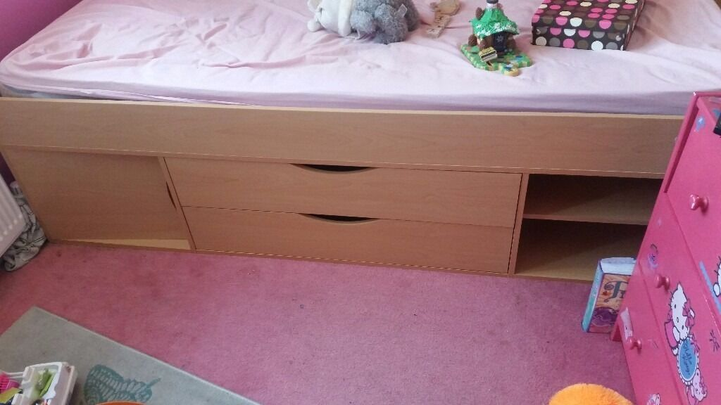 Childrens Cabin Bedin Stoke on Trent, StaffordshireGumtree - Wooden cabin bed. In good condition. The drawers are a bit damaged but doesnt effect them. Only been used 6 months. Was ex display when we bought it. Please feel free to ask anything