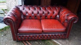 Oxblood Red Leather Chesterfield 3 Piece Suite.