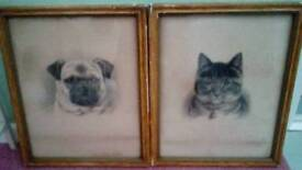 Pair of very old Animal Pictures , of a Dog & a Cat.
