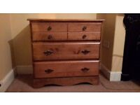 Quality solid pine chest of drawers in perfect condition