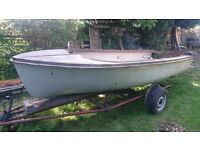 16ft open top launch with trailer, fibreglass, needs new transom. Needs work. Free to collect