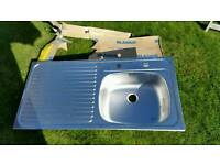 Blanco single left hand drainer sink 2 tap non reversible brand new