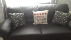 3, seater+ 2 seater, black leather look sofa's excellent condition , look like new