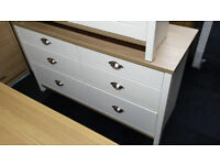 OAK/IVORY VENEER 6 DRAWER CHEST
