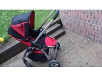 Icandy cherry pushchair and carrycot with two raincovers and footmuff