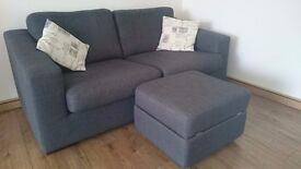 DFS Voyage 3-seater sofa + storage footstool - used, in excellent condition