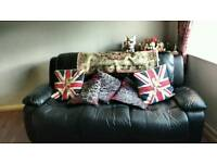 3 n 2 black leather sofas