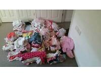 Huge bundle of girls clothes ranging from 0-6 months