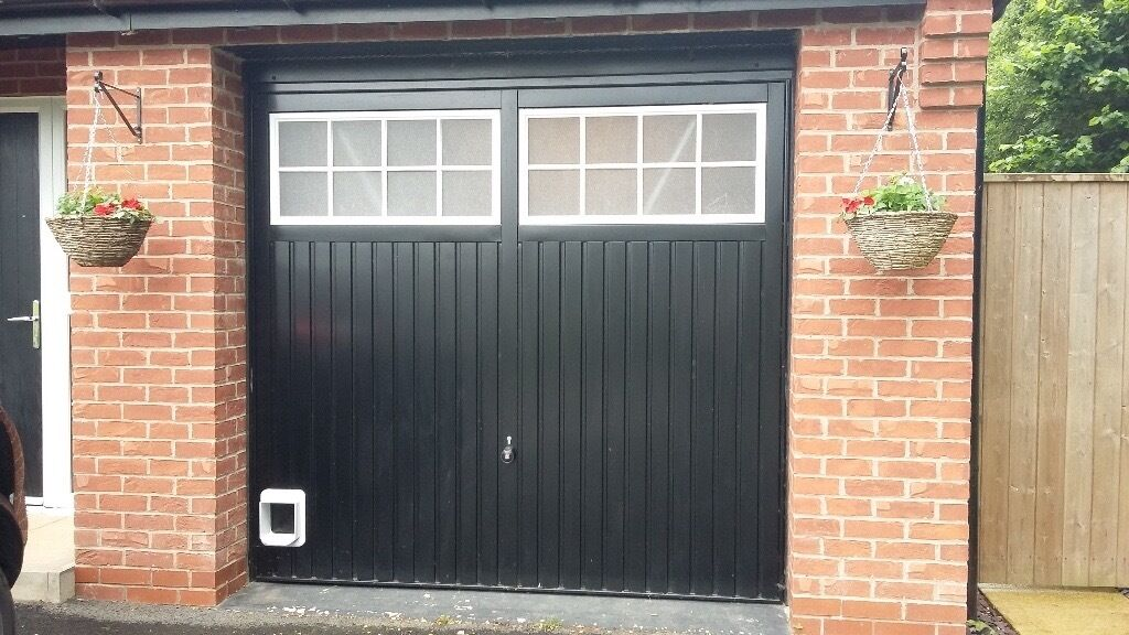 Garage Door Hormann Black 2101 Ilkley Ral9016 With Hole For