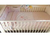 Beautiful reversible Mamas & Papas girls cot bedding