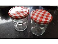 14 clean original Bonne Maman preserve glass jars with red gingham lids