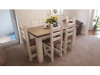 Solid CHUNKY Dining Table And 6 Chairs In A Farmhouse Rustic Style