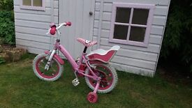 """14"""" Hello Kitty bike with stabilisers, bell & trailer"""